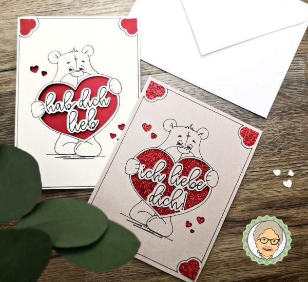 Kartendatei Valentinstag - Lieb-Dich-Bär - A6-Version & Cricut JOY Version