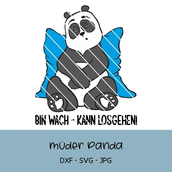 Plotterdatei müder Panda - verschiedene Sprüche