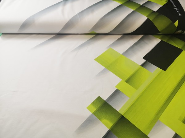 0,5m Sommersweat / French Terry Grafic Stripes Apfelgrün, 95% Baumwolle, 5% Elasthan