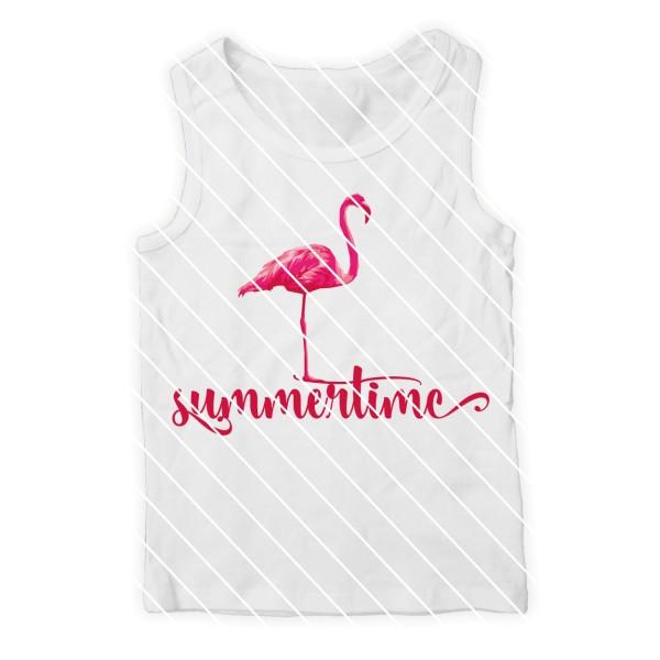 Schneidedatei Flamingo mit Schriftzug summertime
