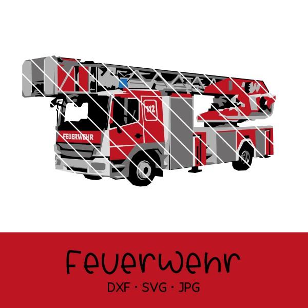 Plotterdatei Feuerwehrauto / Drehleiterfahrzeug
