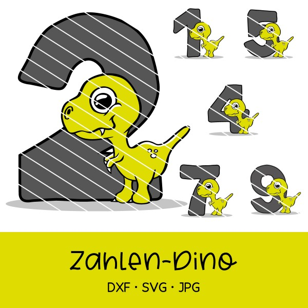 Plotterdatei Dino mit Zahlen 0-9 - für Geburtstagsshirt