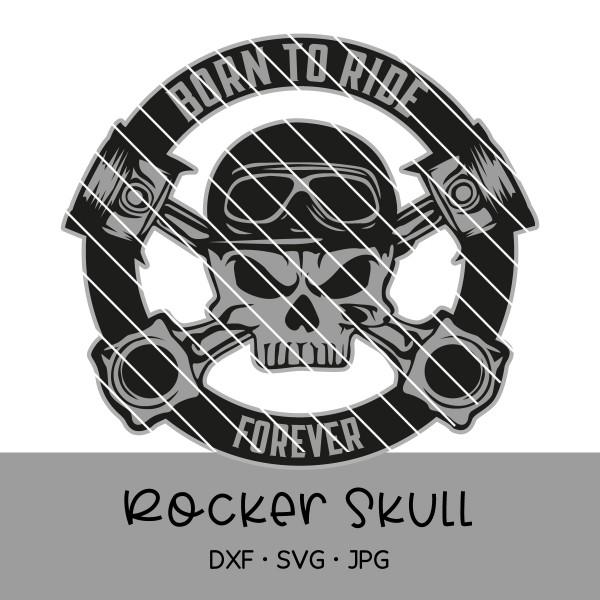 "Plotterdatei ""Rocker Skull"" - Biker Schädel"