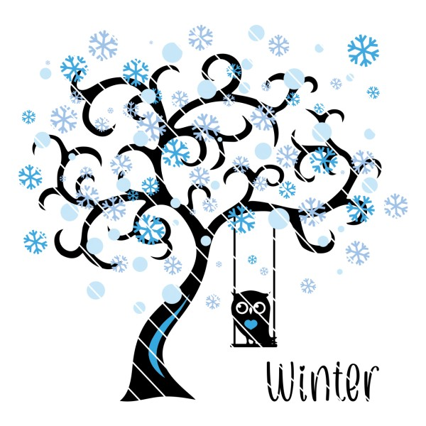 Plotterdatei Jahreszeiten - Baum & Ast mit Schaukel