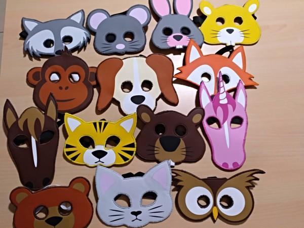 Schnittmuster & Plottdatei Tiermasken für Kinder, 14-teilig