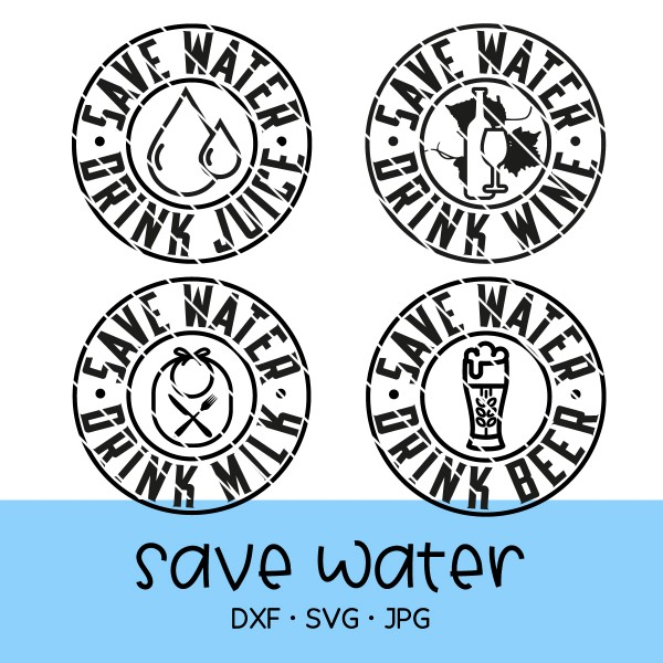 "Plotterdatei Set ""SAVE WATER"" - 4-teilig"