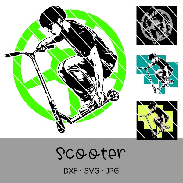 Plotterdatei Scooter - 4-teilig