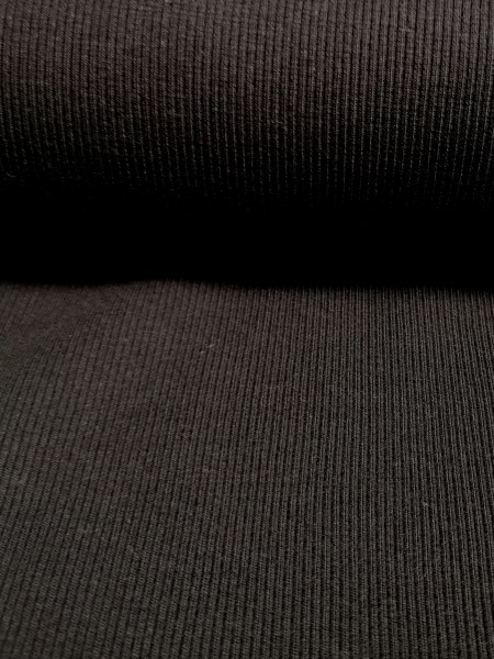 0,5m Bündchen / Strickschlauch Schwarz, 95% Baumwolle, 5% Elasthan