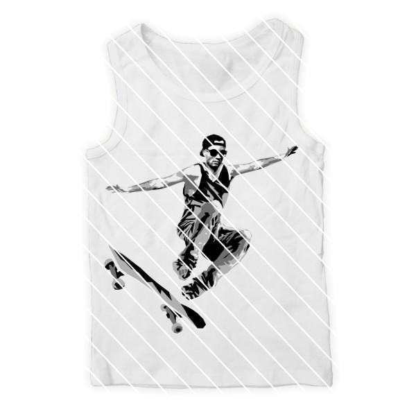 Schneidedatei Skateboarder mit Skateboard