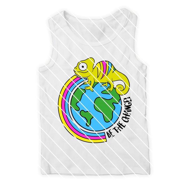 Plotterdatei Chamäleon mit Regenbogen - Umweltschutz, Toleranz, Friede