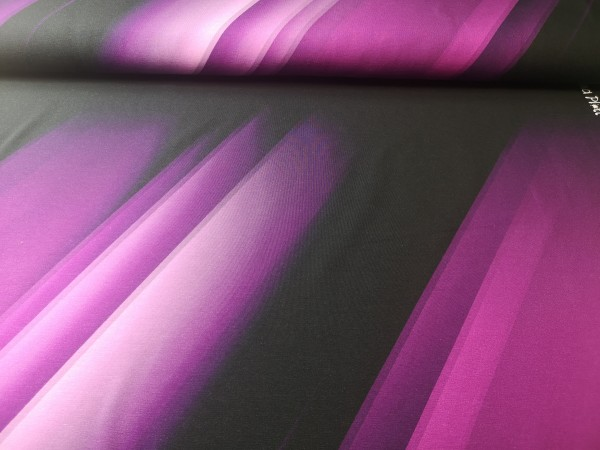Jersey-Panel Fluid Stripes - Beere - 95%Baumwolle, 5%Elasthan