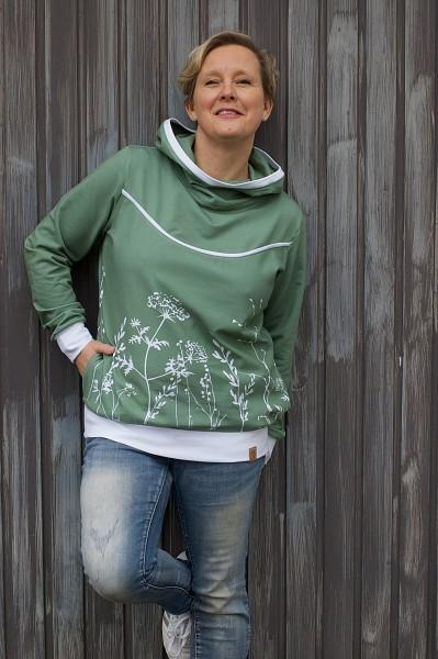 0,5m Sommersweat / French Terry Herbstblumen eukalyptus grün, 95% Baumwolle, 5% Elasthan