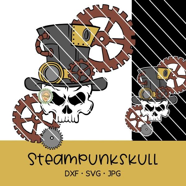Plotterdatei Steampunk-Skull mit Zahnrädern und Zylinder
