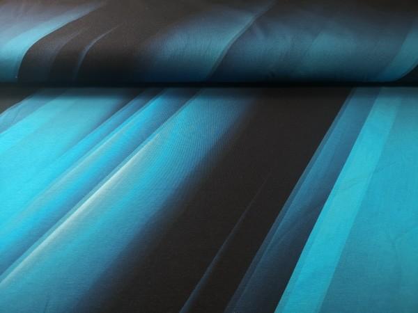 Jersey-Panel Fluid Stripes - Türkis - 95%Baumwolle, 5%Elasthan