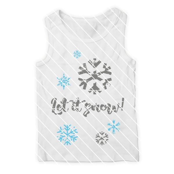 Plotterdatei Let it snow mit 4 unterschiedlichen Schneeflocken im used Look