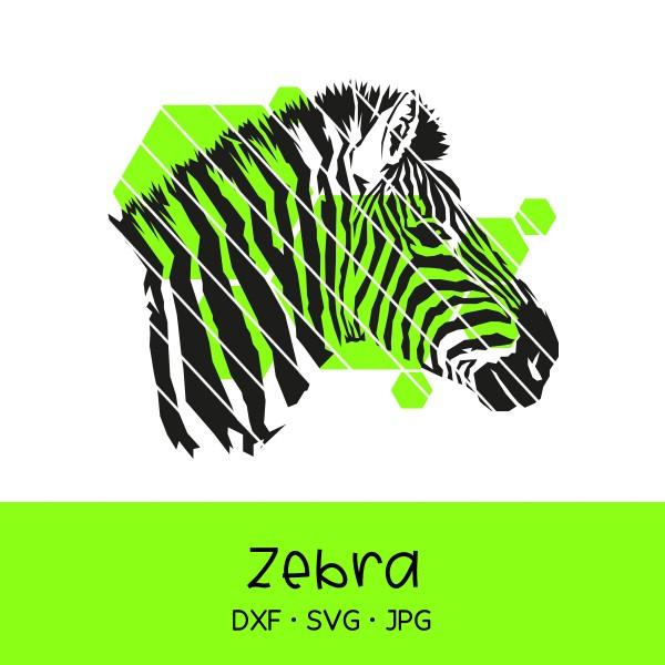 Plotterdatei realistisches Zebra mit Hexagons