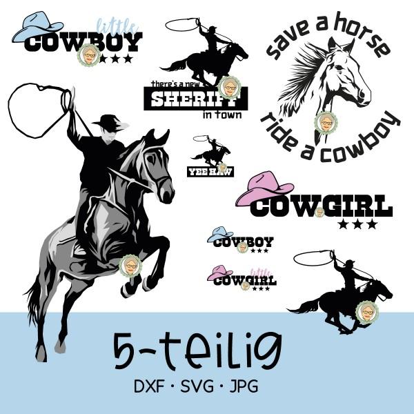 Plotterdatei Set Cowboy - 5-teilig mit Pferd und Sheriff