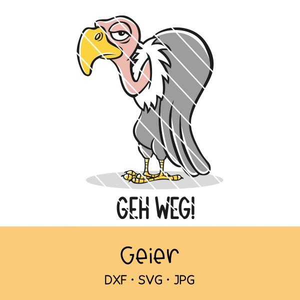 "Plotterdatei cooler, grimmiger Geier mit Text ""Geh weg!"""