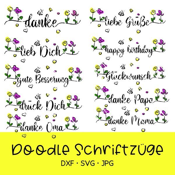 Plotterdatei Doodle Schriftzüge - 12 Varianten