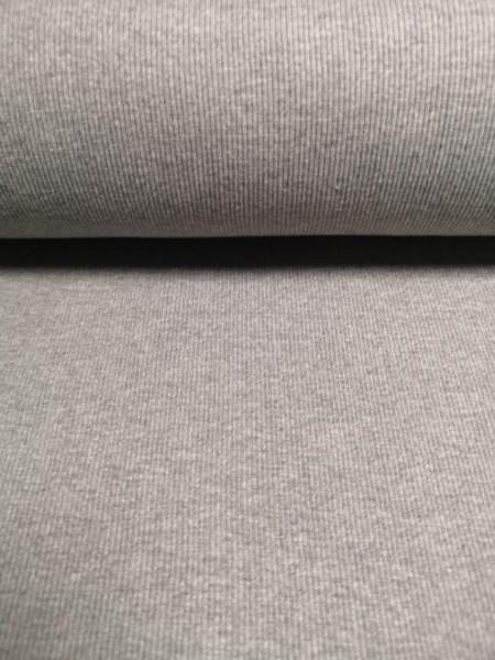 0,5m Bündchen / Strickschlauch grau meliert, 60% Baumwolle, 35% Polyester, 5% Elasthan