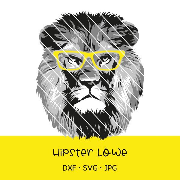 Plotterdatei Hipster-Löwe mit Brille