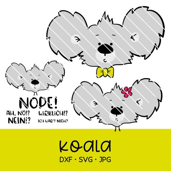 Plotterdatei Koala - süße Datei mit verschiedenen Sprüchen & verschiedenen Varianten