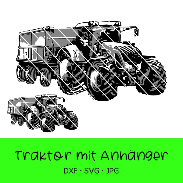 Plotterdatei Traktor mit Anhänger - verschied. Varianten